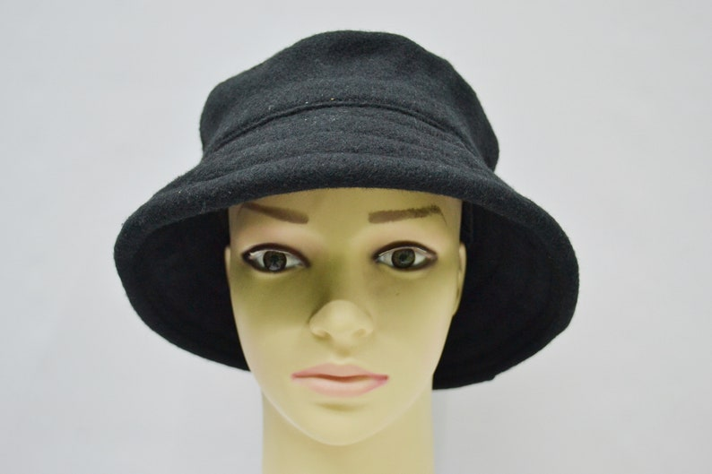 552467524 New York Hat & Cap Co. New York City Bucket Hat Vintage New York Hat Cap  Co. Black Wool Bucket Cap Made in USA
