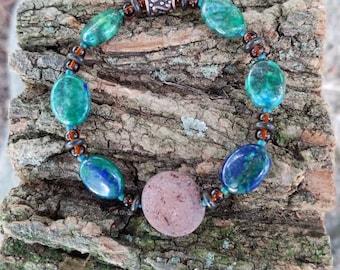 Azurite/Malachite Bracelet,Essential Oil Bracelet,Stretchy Bracelet,Semi Precious Gemstone,Lava Bracelet,Handmade,Unique,Gift,Health Minded