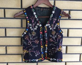 ab52b63a2bd Vintage Beaded Embroidered Vest Ukrainian Ethnic Clothing Handmade Ukraine  Embroidery