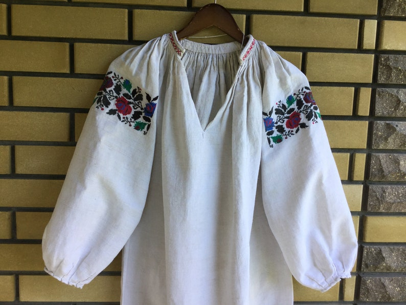 Antique 30s Embroidered Dress Ukrainian Vyshyvanka Homespun Hemp Shirt Handmade Red Blue Green Black Ukraine Embroidery Bohemia Style