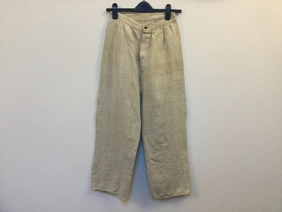 Antique 40s Peasant Pants Size S Homespun Hemp Man