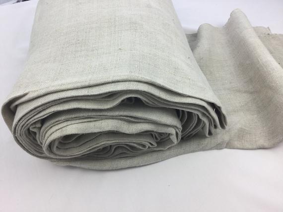 Homespun Linen Fabric Small Bale Handwoven Textile Old Farmhouse Rustic Decor
