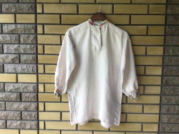 Embroidered Men's Shirt Peasant Shirt Homespun Lin