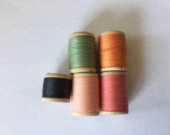 Vintage WoodenThread Spools Black Pink Green Orange Thread Bobins Home Decor