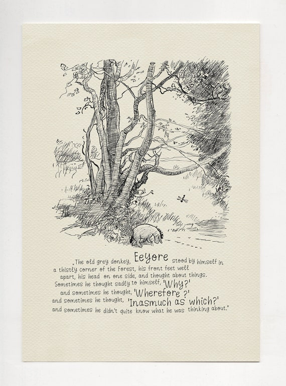 The Old Grey Donkey Eeyore Winnie The Pooh Quotes Classic Etsy