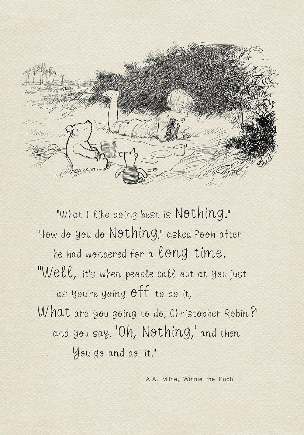 What I Like Doing Best Is Nothing Winnie The Pooh Quotes Etsy