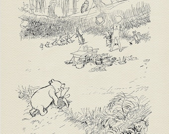 Moving to the Wolery - The House at Pooh Corner - Winnie the Pooh classic vintage  style poster print #21