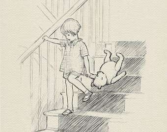 Bump bump bump coming downstairs - Christopher Robin and Winnie the Pooh classic vintage style poster print #20