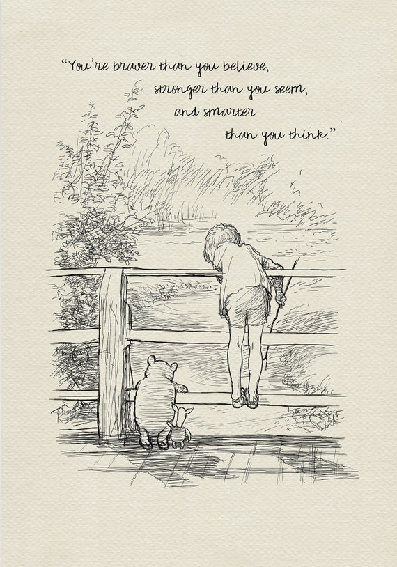 You are braver than you believe - Winnie the Pooh Quotes - classic vintage  style poster print #113