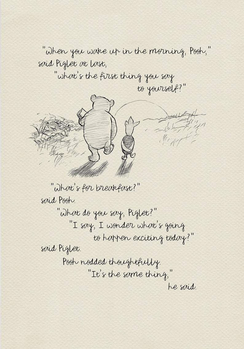 When You Wake Up In The Morning Pooh Pooh Quotes Classic Etsy