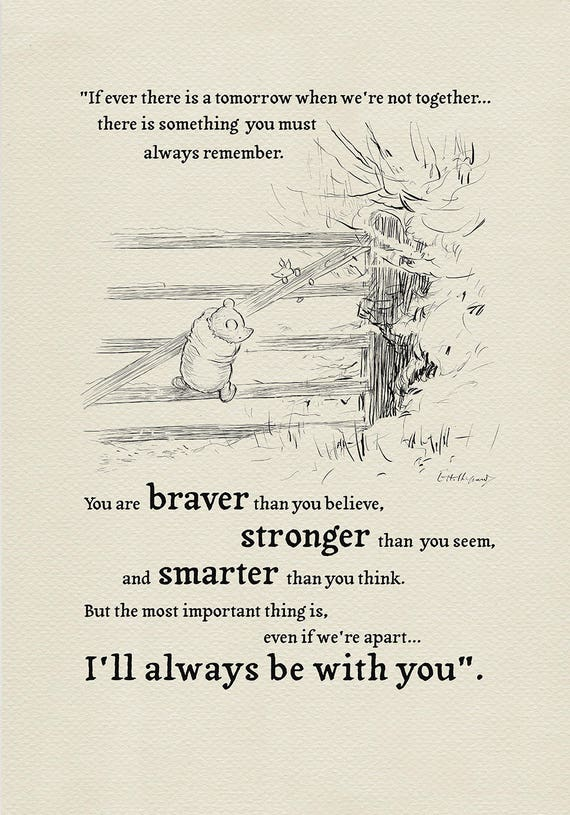 You Are Braver Than You Believe Winnie The Pooh Quote Etsy
