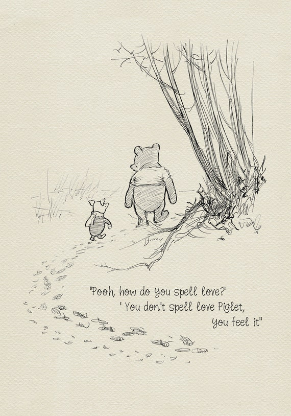 Winnie The Pooh Love Quotes Mesmerizing Pooh How Do You Spell Love Winnie The Pooh Quotes Etsy