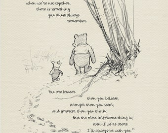 You are braver than you believe - Winnie the Pooh Quotes - classic vintage style  poster print #03