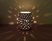 White Ceramic Candle Holder - tea light - handmade pottery - home decor - ready to ship