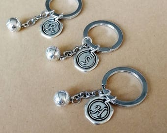 Antique Silver Keychain 3D Basketball And Personalized Initial KeychainsBF Keychainbirthday Gift BFF Team