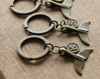 Antique Bronze Keychain 3D Whale Tail And Personalized Initial KeychainsBF Keychainbirthday Gift BFF Boyfriend