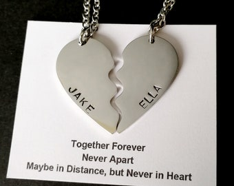 61a6500cad Split heart necklace,Necklace Set in Silver, gold necklace, Split heart  charm, Personalised Initial, Friendship necklace,BFF Gift