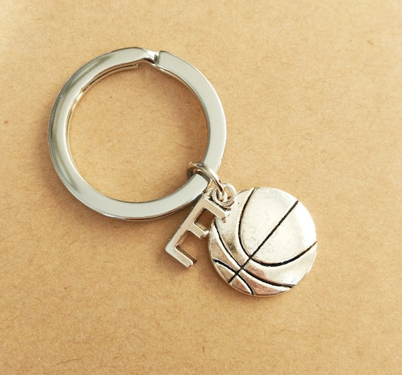 Antique Silver Keychain Basketball And Personalized Initial