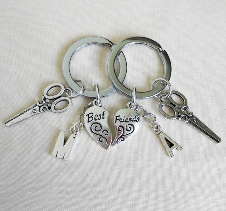 Antique Silver Keychain Best friend Personalized Initial  22be3ad4a9b2