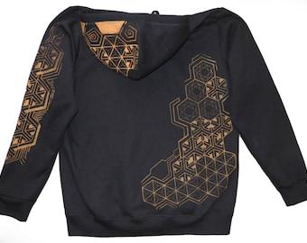 Hexagon Hoodie, Black, Blacklight
