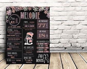 Chalkboard - Affiche personnalisé pour 1er anniversaire - Hiver fille