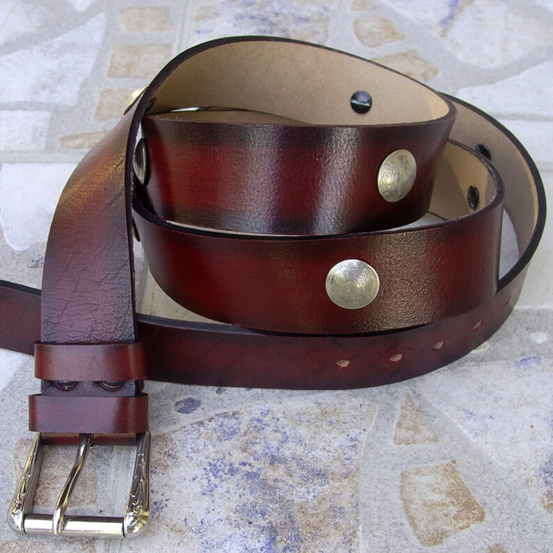 Mexican coin chonchos belt Men/'s Leather Belt Hand dyed and antiqued Top quality vegetable tanned leather Rustic leather belt