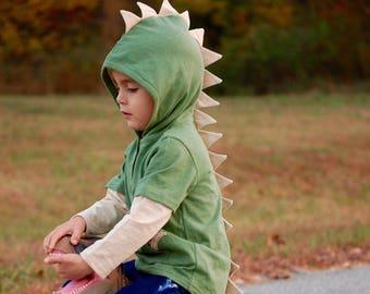 Kids Dinosaur Hooded Pullover Sweatshirt Dino Spike Jacket Kids Sizes 4-12 Stegosaurus Dinosaur Costume for Boys T Rex Hoodie