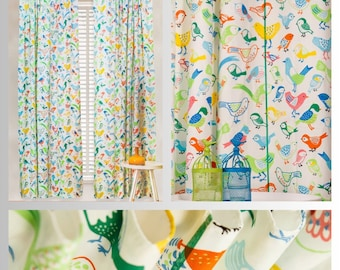 Color me Birds Curtains and Pillow Covers