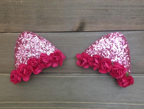 Hot pink cat ears cat ears floral cat ears bachelorette cat mightylinksfo