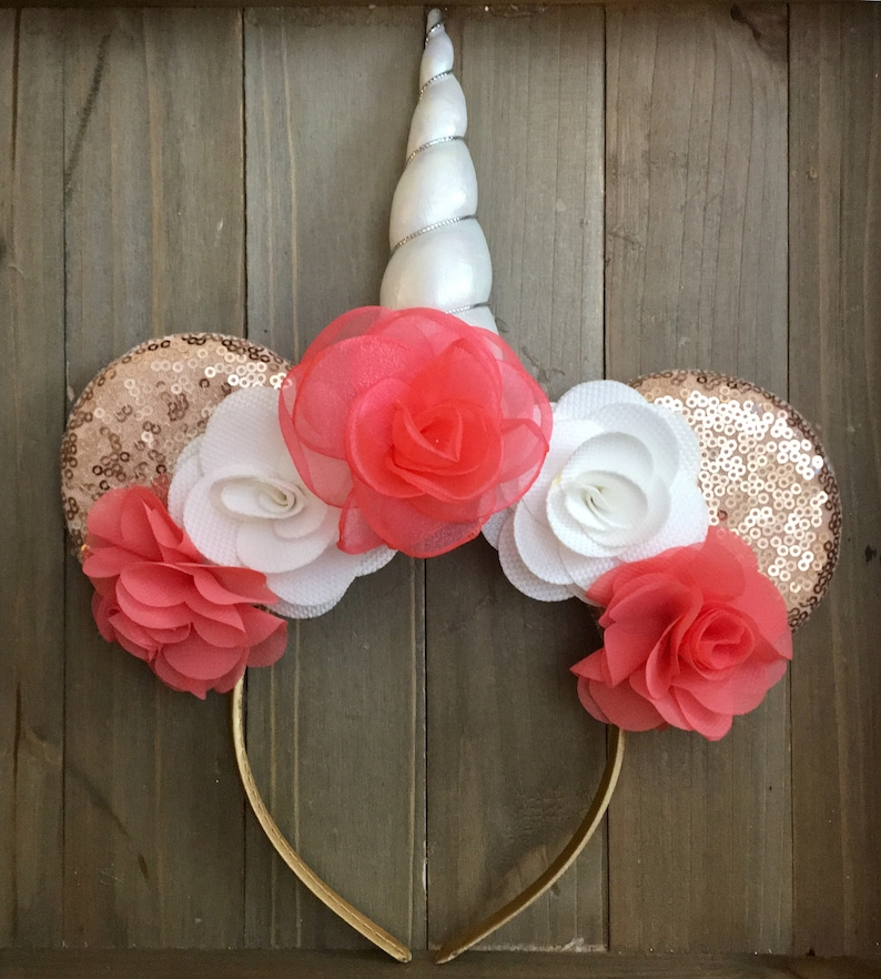 4698ae75146a Coral Rose Gold Unicorn Mouse Ears Mouse Ears Adult Minnie | Etsy