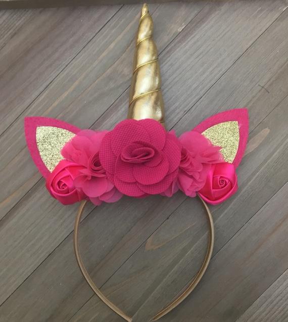 Unicorn Gold /& Pink headband