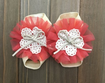Coral barefoot sandals, Baby sandals, Barefoot sandals, Baby Girl sandals, baby shoes, baby footwear, baby Shower, Baby Accessories