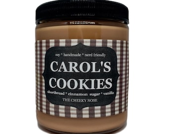 Cinnamon Cookie Candle - Carols Cookies - 8 oz Scented Soy Candle - The Cheeky Nose - Comic Book Candle - Zombie Candle - Book Lover Candle