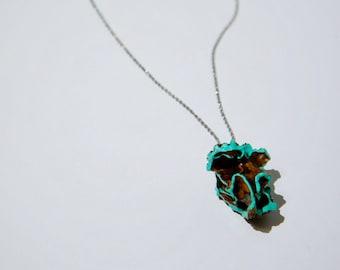 Minty aqua black walnut shell pendant