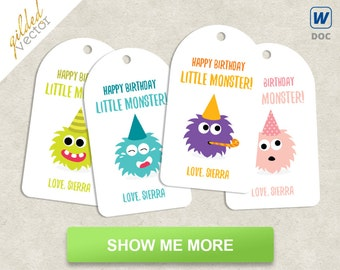 DIY Little Monsters Tags Happy Birthday Gift Custom Printable Tag Easy Editable Word Template Document Digital File