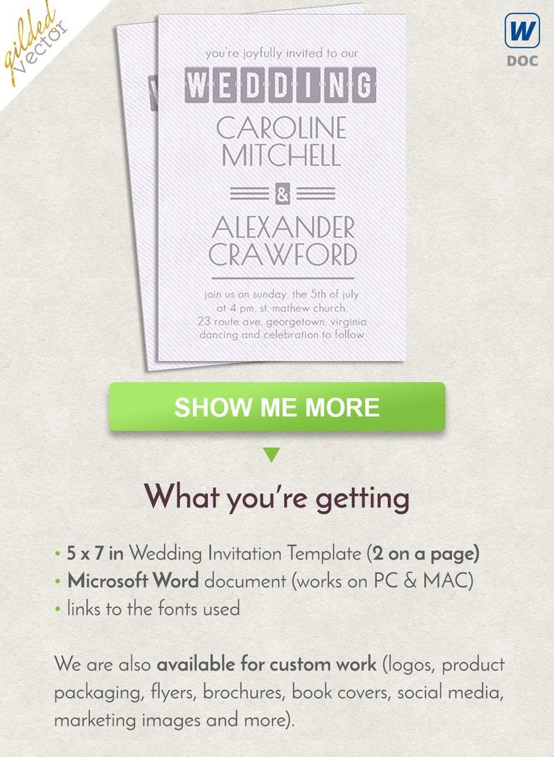 Modern Word Invite Wedding Template Invitation Printable Card Editable