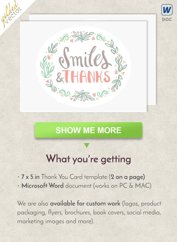 diy thank you card smile card flowers frame word template etsy