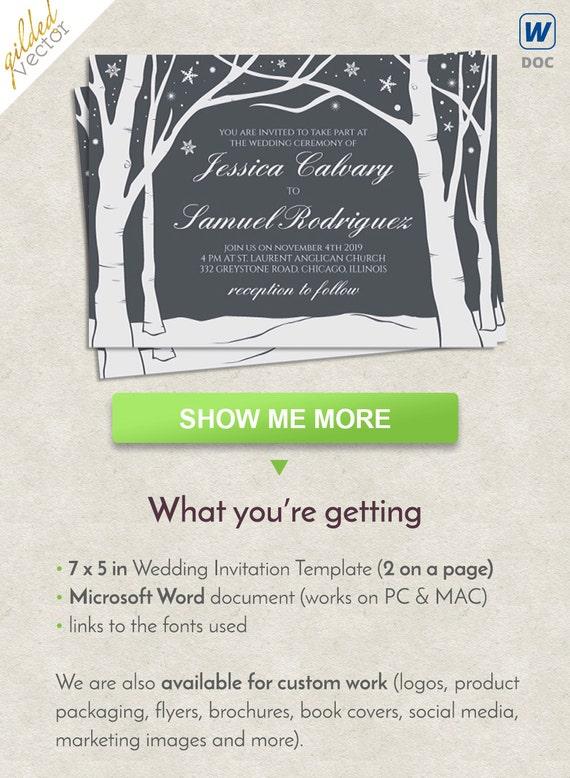 DIY Wedding Invitation Template Wonderland Card Winter Calligraphy Word Custom Printable Editable DOC