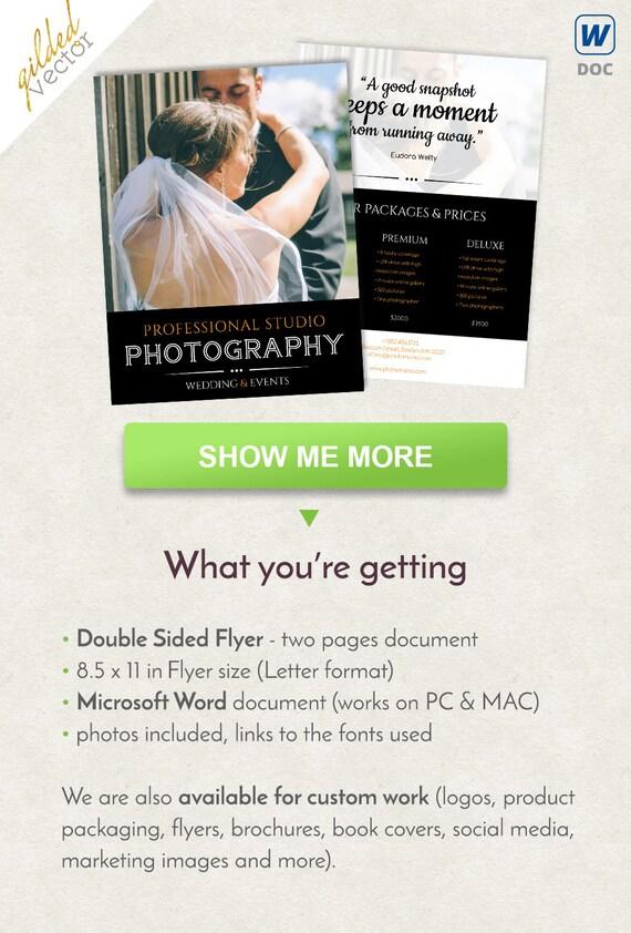 Photography Flyer Design Events Flyer Design Letter Size Etsy