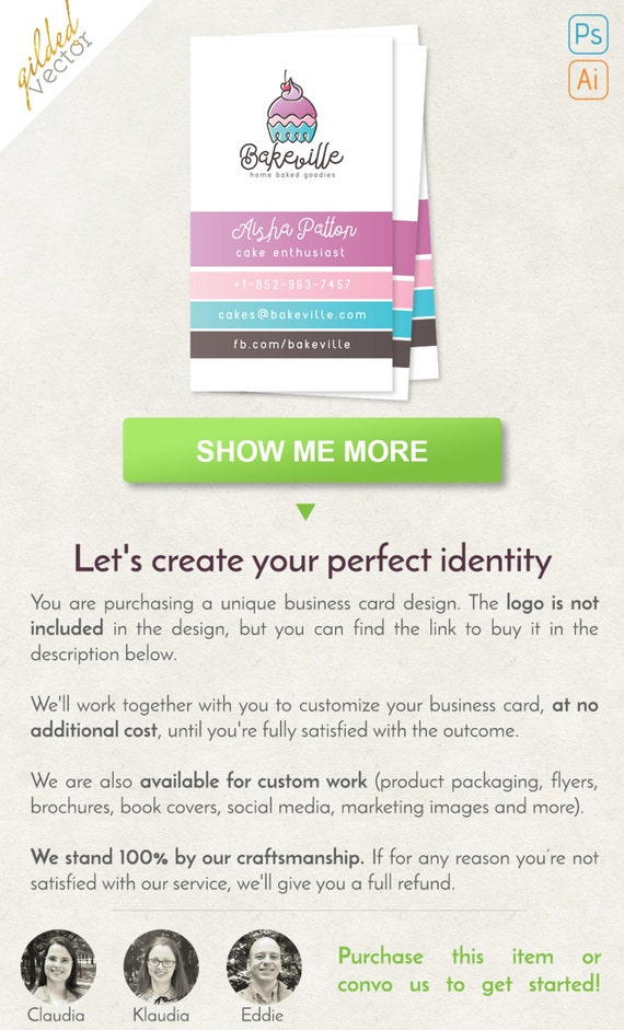 Cupcake Business Card Bakery Business Card Digital Template Etsy
