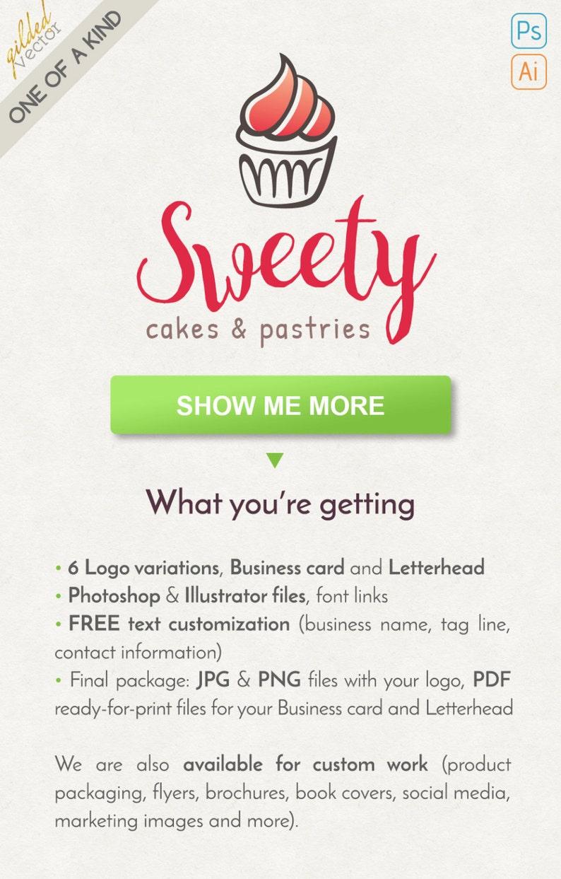 Baking Logo Food Logo Cupcake Logo Baker Logo Line Logo Etsy