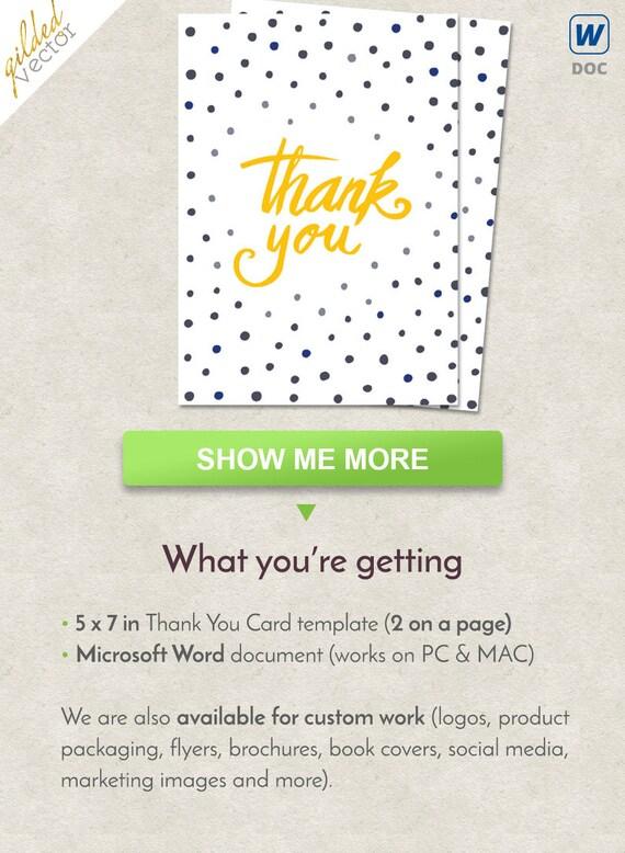 DIY Thank You Card Dots Thank You Card Handmade Word Etsy