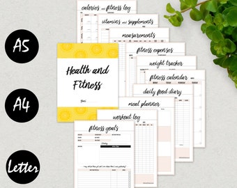 Fitness Planner, Fitness Journal, Health Planner, Workout Log, A5, A4, Letter, Printable, Food Diary, Calorie Tracker, Weight Loss Tracker