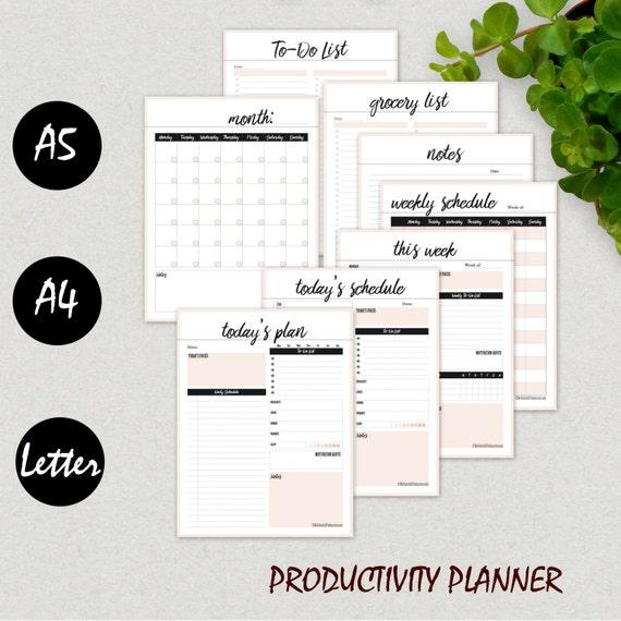 Planificador diario para imprimir insertos paquete de   Etsy