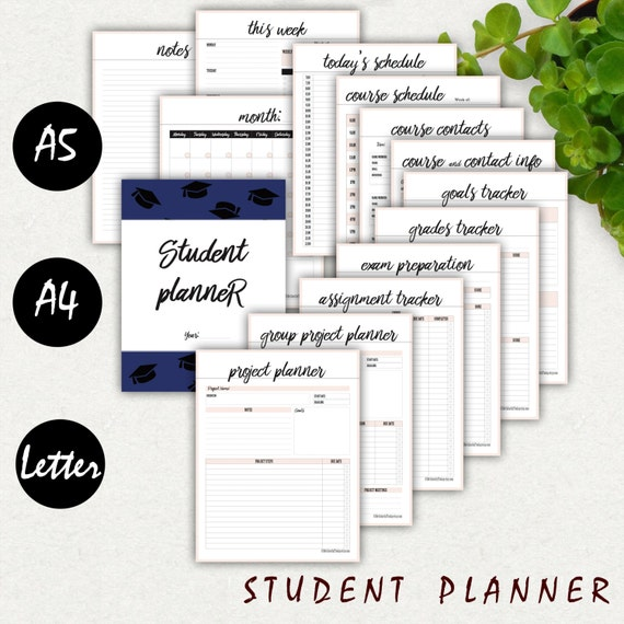 college student planner printable a5 a4 letter 2017 high etsy