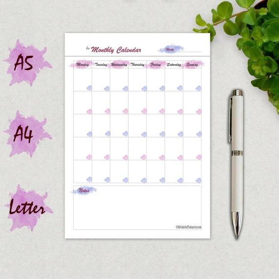 Kalendervorlage druckbare Kalenderseite leere monatlichen