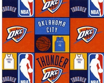 81d853436bd New NBA Oklahoma City THUNDER Patchwork Print #2 100% cotton fabric, you  choose size, sports fan, decorative, man cave, official fabric