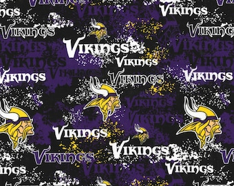 e7df7fdbe NFL MINNESOTA VIKINGS Weathered Look Print Football 100% cotton fabric  licensed material Crafts