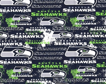 7bc6615be NFL SEATTLE SEAHAWKS Weathered Look Print Football 100% cotton fabric  licensed material Crafts