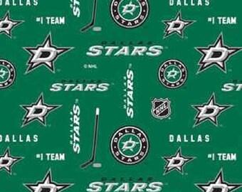 NHL DALLAS STARS licensed Green Hockey 100% cotton fabric ... 79692a67e